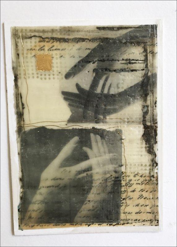 10 BFD collage #3 with wax, walnut oli, book foil, gold leaf