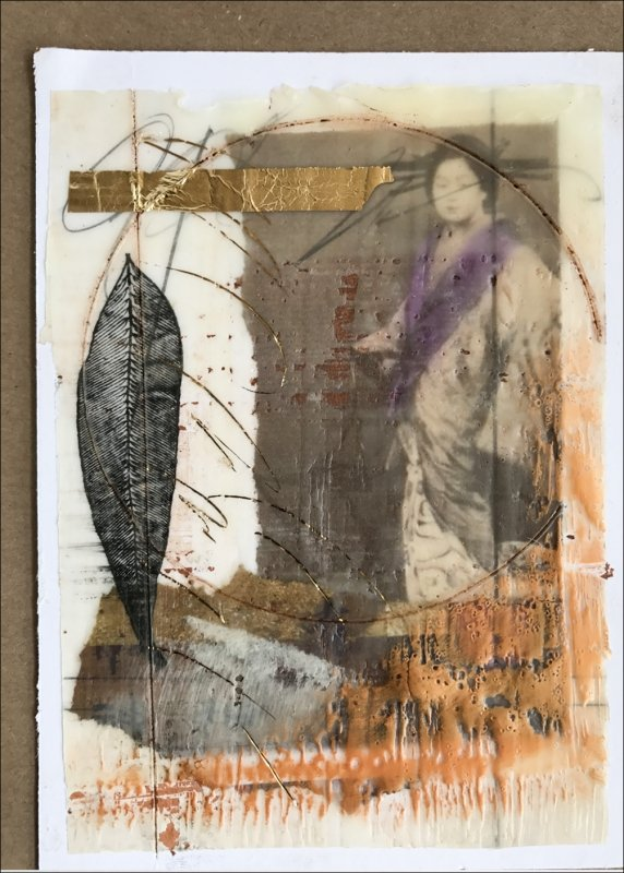 11 Lyn Belisle, collage with wax, walnut oil, book foil, gold leaf