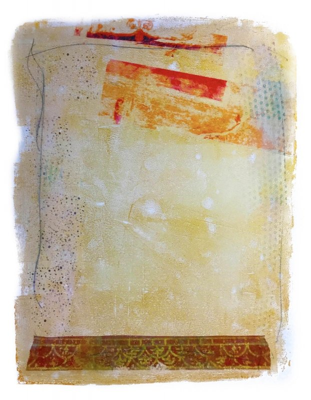 Pencil, paint, stamping, collage