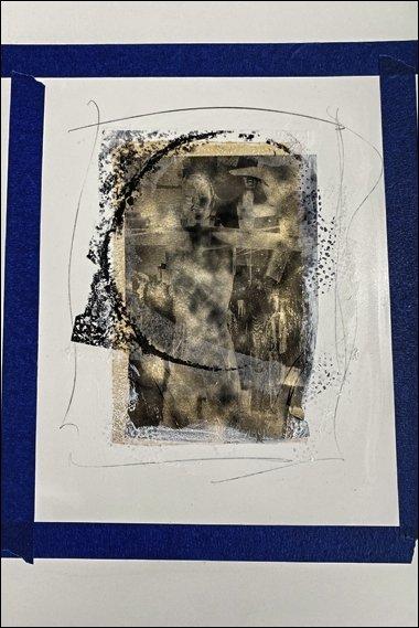33 Demo gelatin monoprint, pencil markings, emulsion lift, tengucho paper